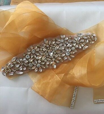 One Of A Kind Handmade Crystal In Gold Setting With Gold Organza Ribbon