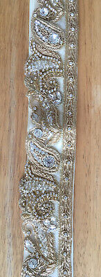 Gorgeous clear Crystal Beaded Indian Style Diamante Belt Ivory Satin Ribbon Gold