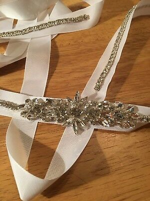 Handmade One Of A Kind White Ribbon Belt Extra Long Crystals