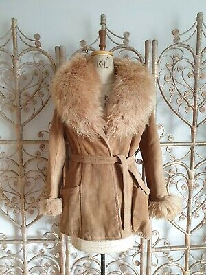 Vintage Women/'s 1970s Suede The Tannery Fur Lined Belted Penny Lane Jacket