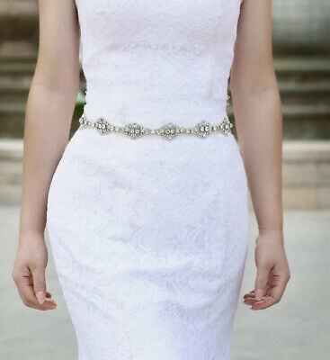 Ethereal Off White Ribbon & Pearl & Crystals ✨Belt Wedding 💍Bridal