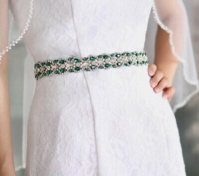 Gorgeous Pearl/Green/clear/ Crystal Beaded ✨Diamante Belt White Organza Ribbon