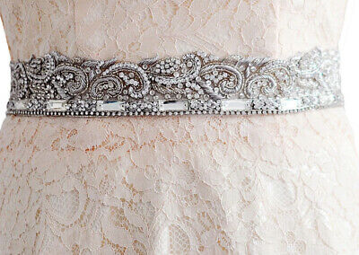 Gorgeous clear Crystal Beaded Indian Style Diamante Belt White Satin Ribbon