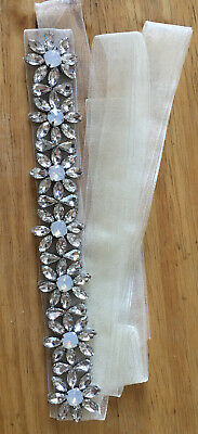 Gorgeous Opal/ clear Crystal Beaded ✨Diamante Belt Organza Ivory