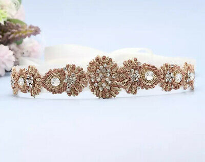 Gorgeous clear Crystal Beaded Indian Style Diamante Belt Off White /Rose Gold