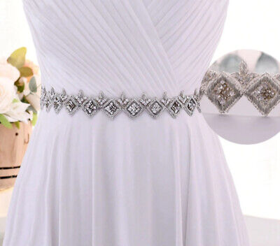 Gorgeous clear Crystal Beaded Indian Style Diamante Belt Organza Ivory