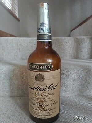 """Vintage Bar Large 19"""" High Imported Canadian Club Whisky Glass Bottle Empty 1954"""