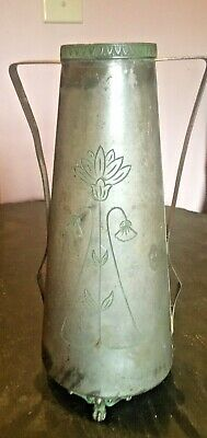 Beautiful ART NOUVEAU Etched VASE Signed BENEDICT KARNAK BRASS