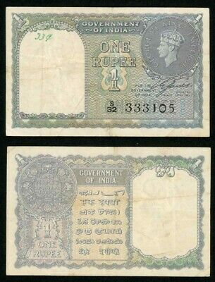 Nice 1940 Banknotes From India One Rupees King George VI Pick 25a VF+
