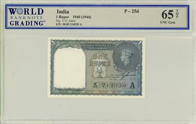 India 1 Rupee Currency Banknote 1940 - Choice CU