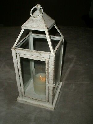 "White with Bronzed Brushed 15 1/2"" Metal & Glass Lantern with 4"" Flicker Candle"