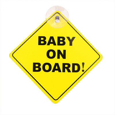 Suction cup BABY ON BOARD warning sign car sticker 1mm thick OW