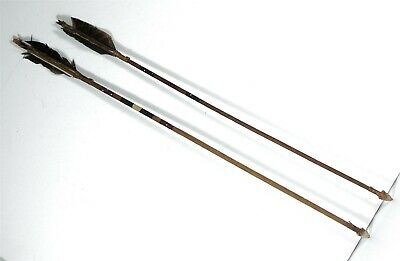 LOT OF TWO 1960s NATIVE AMERICAN CROW INDIAN WOODEN ARROW - PAINT DECORATED #2
