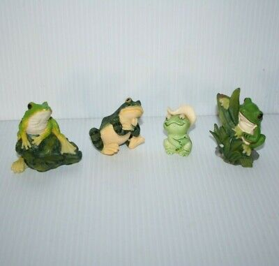 Mixed Lot Green Frog Figurine 3 Resin & 1 Plastic Cowboy With Moving Googly Eyes