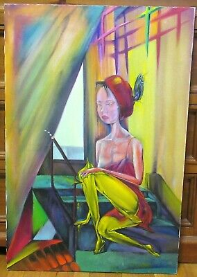 Woman On Stairs Scene Original Oil On Canvas Russian Painting Signed