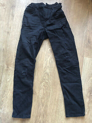 Boys H&M black ripped jeans age 11-12 years. adjustable waist
