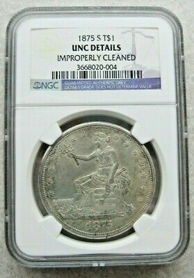1875-S Trade Dollar NGC AU Details.  Nice Eye Appeal - Looks Natural