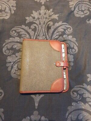 Vintage Mulberry Planner Filofax Green Brown Leather 1990s Some Inserts Rare
