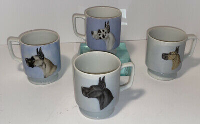 Great Dane Dog Coffee Or Tea Cups Complete Set Of 4 Dog, Great Dane Drink Cups