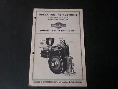 Vintage Operating Instructions Briggs & Stratton Models 6-S 6-SFB 6-SR6