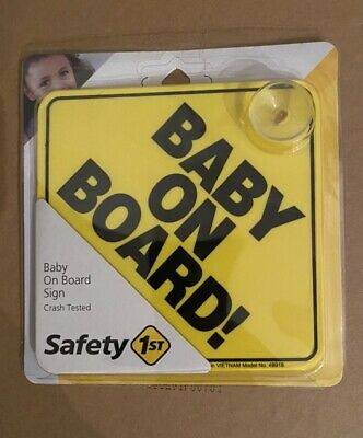"Safety 1st ""Baby On Board"" Sign Yellow New"