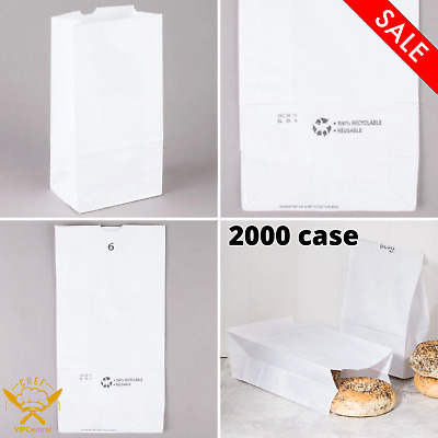 2000 Case 6 lb. 6 In. x 11 1/16 In. Duro White Standard Commercial Paper Bag