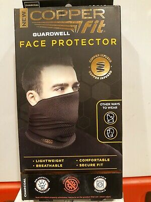 Copper Fit Guardwell Face Protector Mask Gaiter Adult Charcoal/Black Brand New