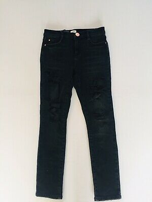 River Island Boys Black Ripped Jeans Trousers. Size 8 Years.