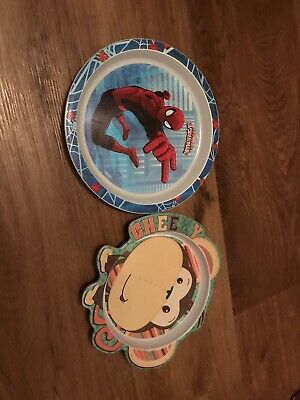 Set Of Two Toddler Plastic Plates - Spider-Man / Monkey