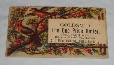 RARE Victorian Harlem N.Y. Goldsmid The One Price Hatter Hats Made To Order