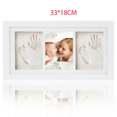 Gift Baby Footprint Kit Photo Frame Memory Growth Record Handprint Wooden