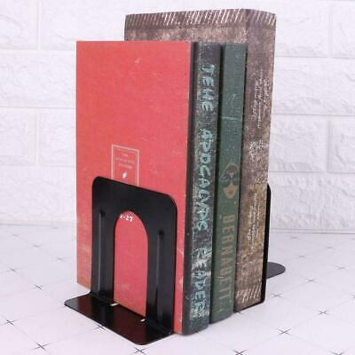 1Pair New Non-Skid Bookends Metal 12 cm High Black Metal 2 Q0E1 U Y6O6