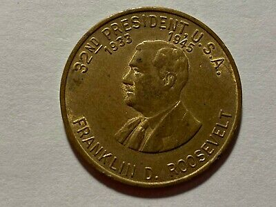 FRANKLIN D. ROOSEVELT COIN 32nd US PRESIDENT. (1935-1945) VG CONDITION