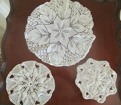 Vintage Unusual KNITTED DOILIES (2) & CROCHETED (1), all different, all in VGC