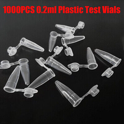 1000pcs 0.2ml Disposable Micro Centrifuge Plastic Tubes W/ Caps 6mm Diameter USA