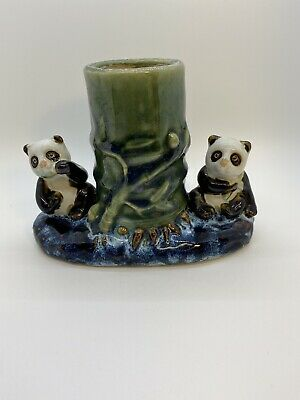 Vintage Porcelain ceramic Vase or Planter w/ Lucky Bamboo and 2 Panda figurines