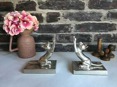 Pair of Silver Metal Cat Bookends