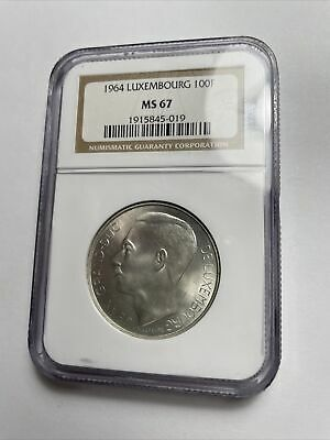 Coin, Luxembourg 100 F, MS 67, 1964, Silver, NGC