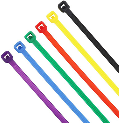 4 Inch Multi-Purpose Nylon Self-Locking Cable Zip Ties 6 Color Set, Sorted 480 P