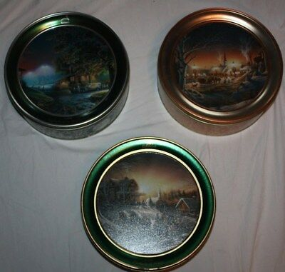 Lot of 3 Terry Redlin Schwans Limited Edition Christmas Scene Tins 06, 07, 16