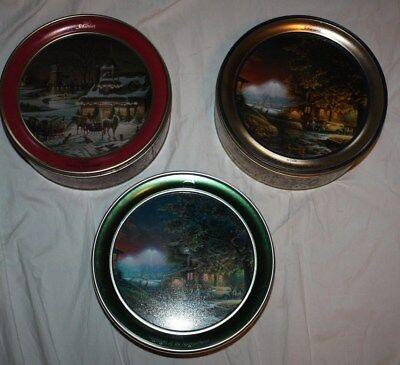 Lot of 3 Terry Redlin Schwans Limited Edition Christmas Scene Tins 01, 02, 16
