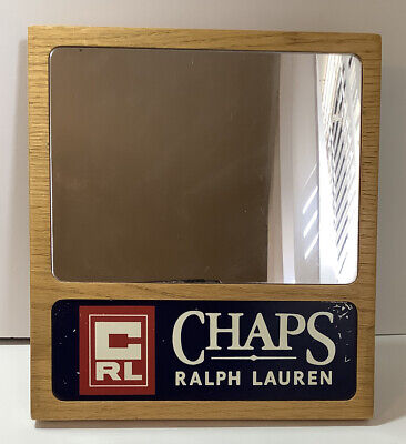 """Chaps RALPH LAUREN Wood Framed Sign With Mirror ~ Store Display ~ 9"""" X 8.5"""""""