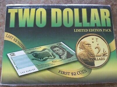 Australia $2 Last Note 1985 & First Coin 1988 Uncirculated Pack