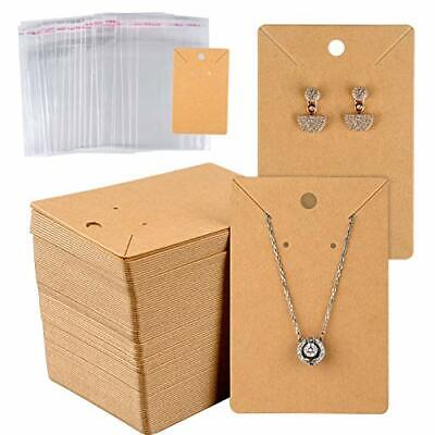 """MIAHART 150 Set Earring Card With Pcs Bags Holder Blank Kraft Paper Tags For """""""