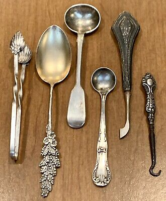 Antique Victorian Sterling Silver Lot: Spoon, Button Hook & Cuticle Tool 57.2g