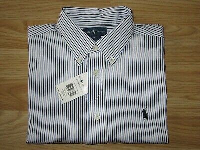 NEW Boys RALPH LAUREN Blue Striped Yarmouth Long Sleeve Shirt Sz 16 / 10-12 yrs