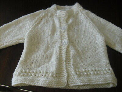 Hand Knitted Baby Cream/ Ivory  Traditional Matinee Coat/Cardigan 0-3 Months