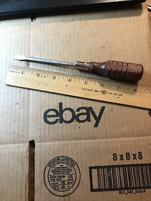 "Vintage 3/16"" Flat Slotted Head Square Shank Screwdriver Wood Handle !"