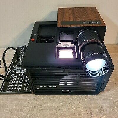 Vintage BELL & HOWELL 861 35mm Portable SLIDE PROJECTOR CUBE - WORKS! Faux Wood