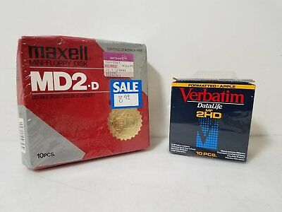 Lot of 19 Vintage PC Floppy Micro Discs MD2-D & 2HD